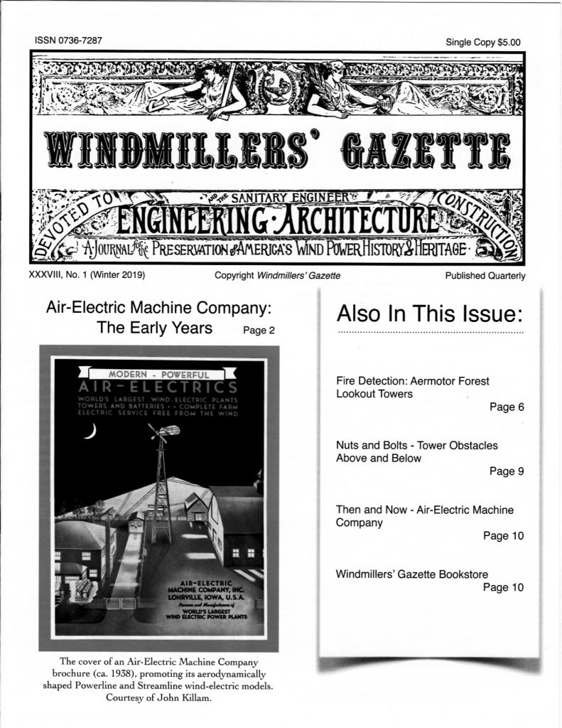 Image of cover of Winter 2019 issue of Windmillers' Gazette.